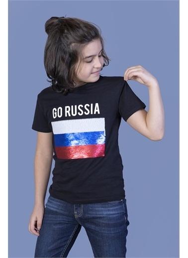 Toontoy Kids Toontoy Erkek Çocuk Go Russia Nakışlı Tişört Siyah
